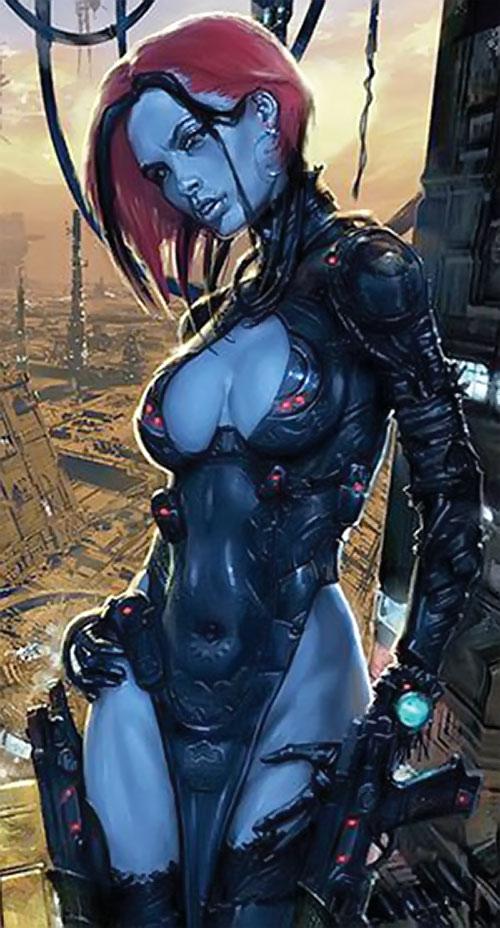 Durham Red (2000AD Comics) above a sci-fi metropolis