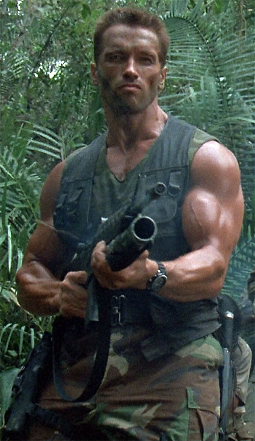 Dutch Schaeffer (Arnold Schwarzenegger in Predator) firing his rifle
