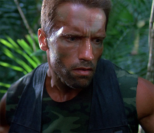 Dutch Schaeffer (Arnold Schwarzenegger in Predator) face closeup