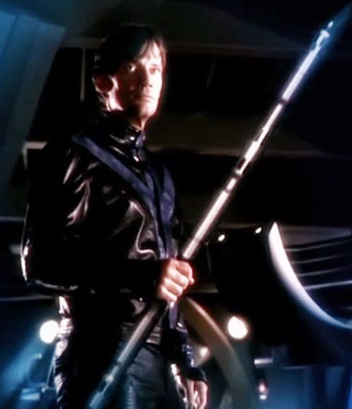 Dylan Hunt (Kevin Sorbo in Andromeda) with his staff
