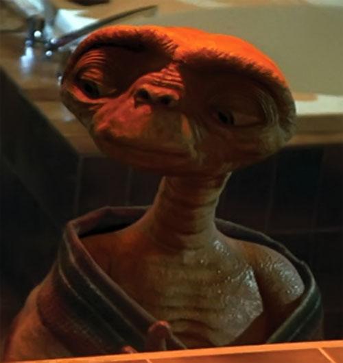 ET the extra-terrestrial (Spielberg movie) alien in a bathroom