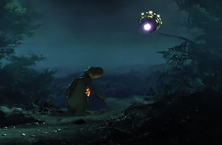 E.T. watches the rescue spaceship arrive