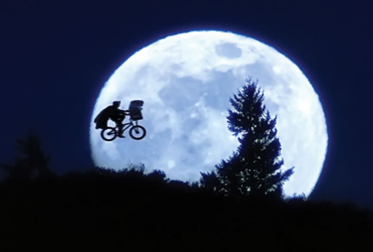 E.T. iconic flying bike and moon scene