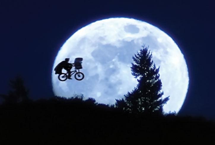 E.T. iconic flying bike and moon scene