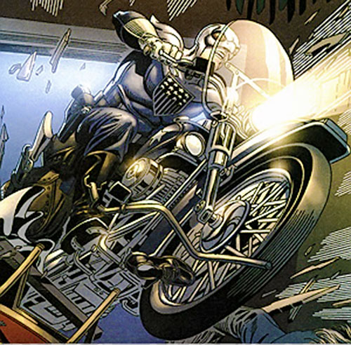 Eagle (Red Menace comics) drives his motorbike through a door