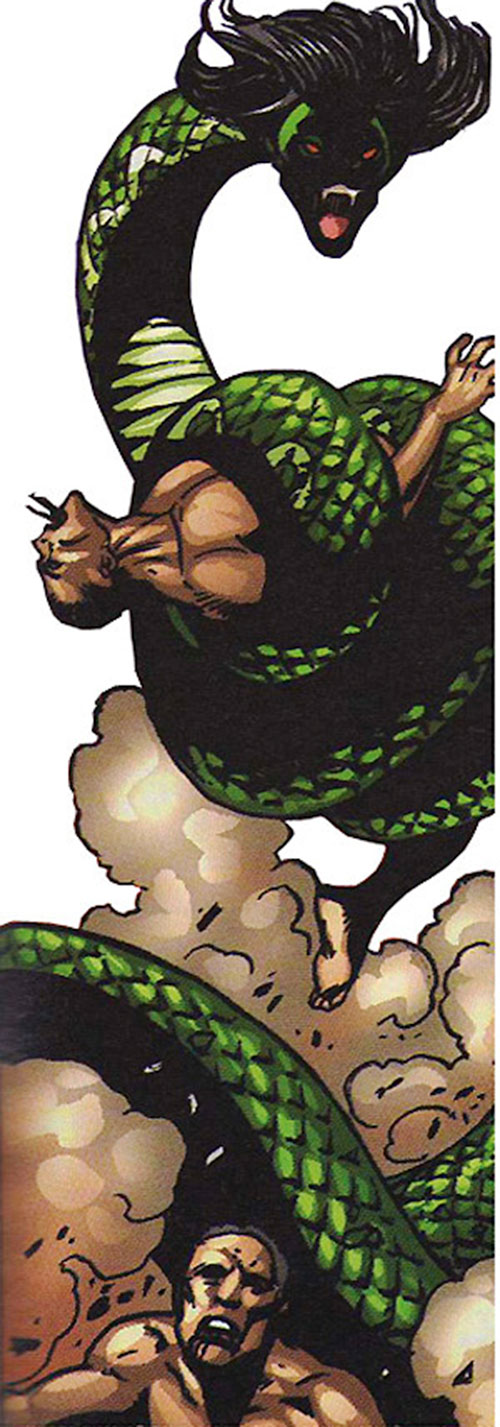 Ebony (Darna enemy) (Mango comics) attacks men in lamia form