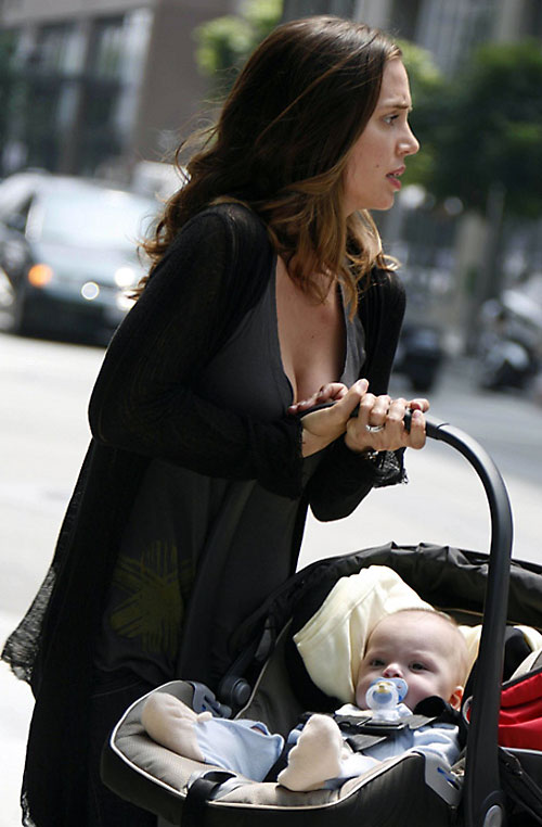 Echo (Eliza Dushku in Dollhouse) with a baby