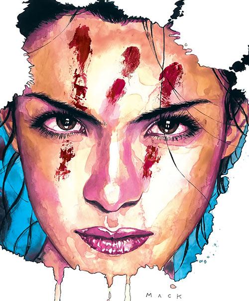 Echo (Maya Lopez) (Marvel Comics) with bloody handprint, by David Mack