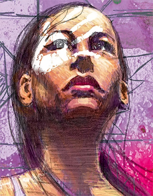 Echo (Maya Lopez) (Marvel Comics) with white facial handprint, by David Mack
