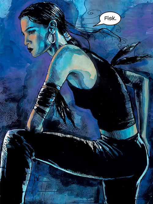Echo (Marvel Comics) in the night, painting by David Mack