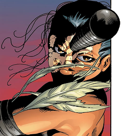 Echo (Maya Lopez) (Marvel Comics) throwing a stick