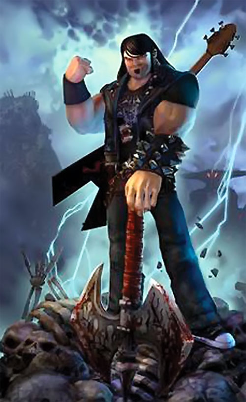 Eddie Riggs (Brutal Legend video game) with lightning and skeletons