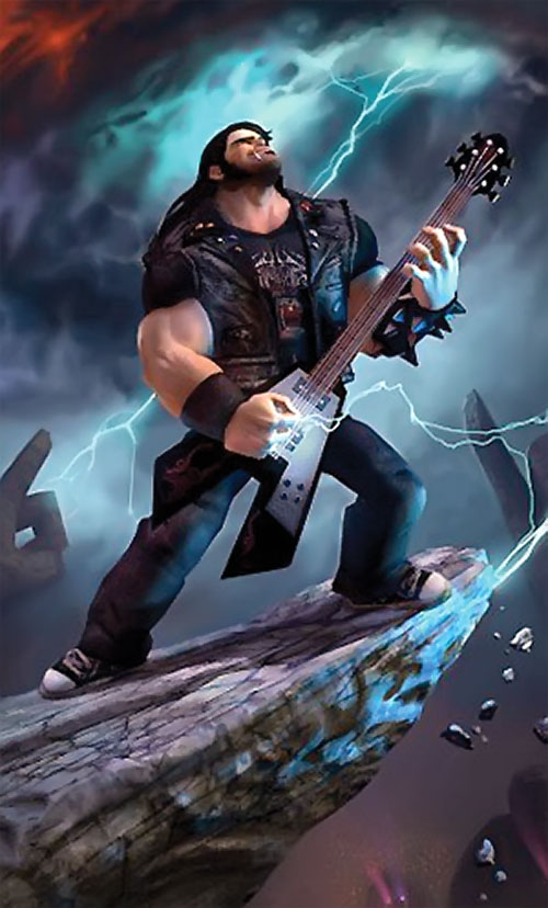 Eddie Riggs (Brutal Legend video game) playing guitar heavy metal album cover style