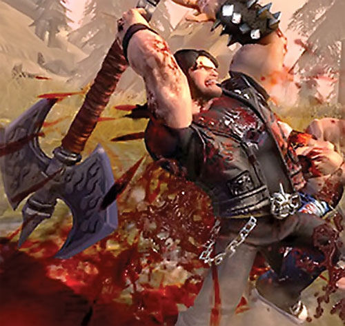 Eddie Riggs (Brutal Legend video game) fighting with a giant axe