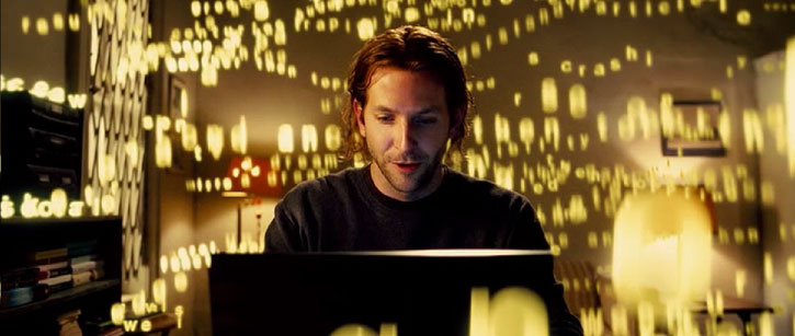 Eddie Morra (Bradley Cooper in Limitless) writing smiling