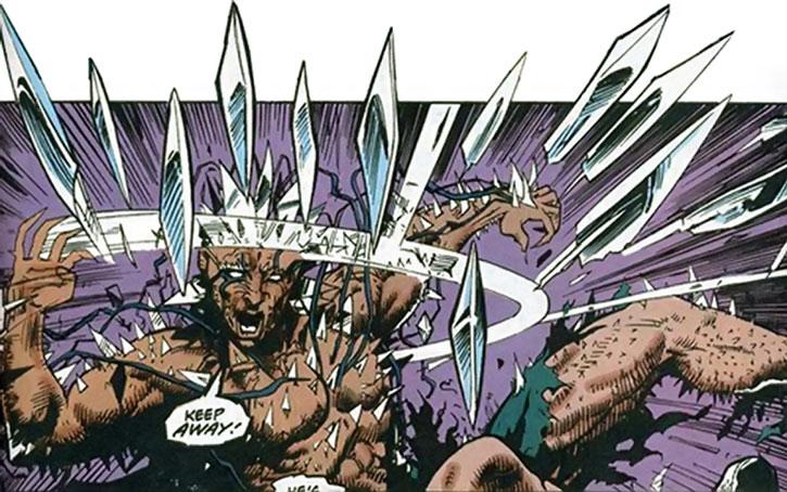 Edge (Tom O'Brien) throws blades