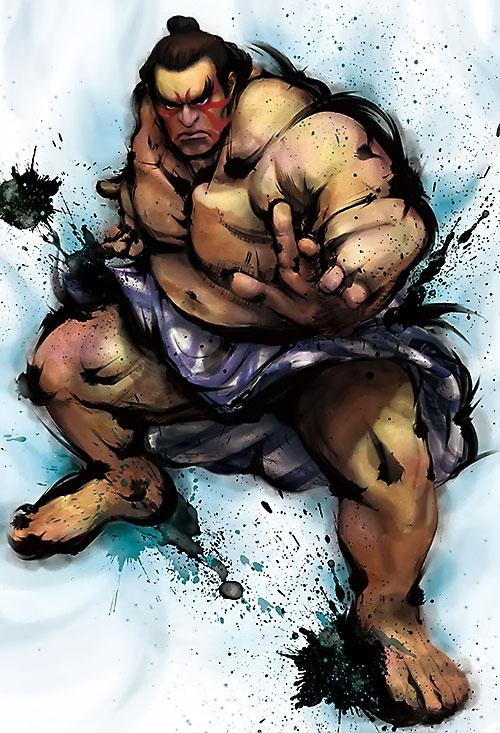 E. Honda from Street Fighter video games splashy art