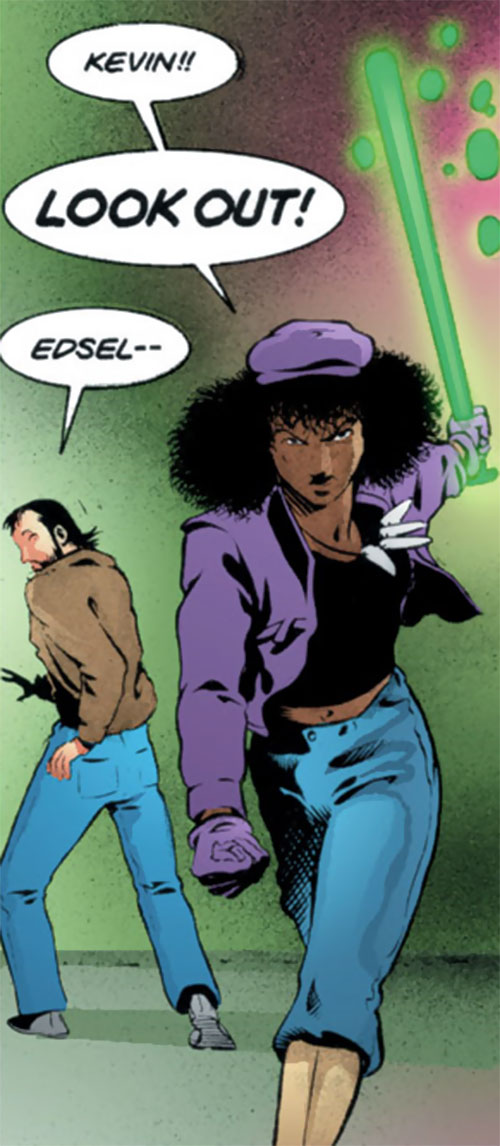 Edsel (Matt Wagner's Mage comics) defending Kevin with her bat