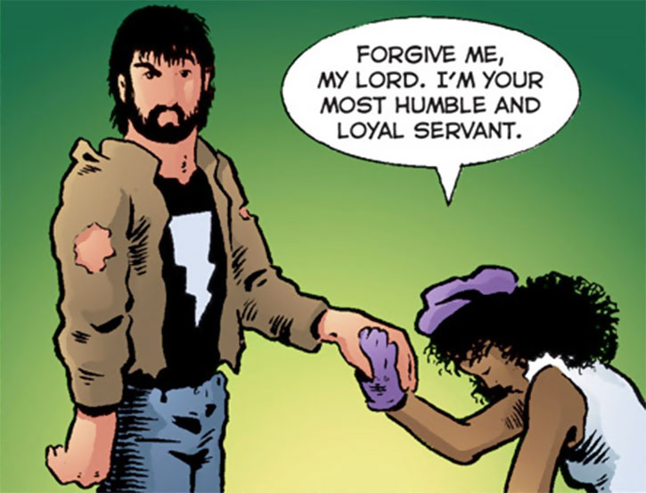 Edsel (Matt Wagner's Mage comics) kneeling before Kevin
