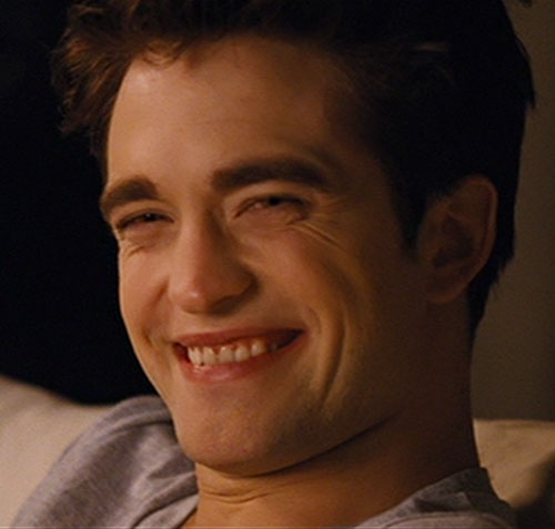 Edward Cullen (Robert Pattinson in Twilight movies) grinning