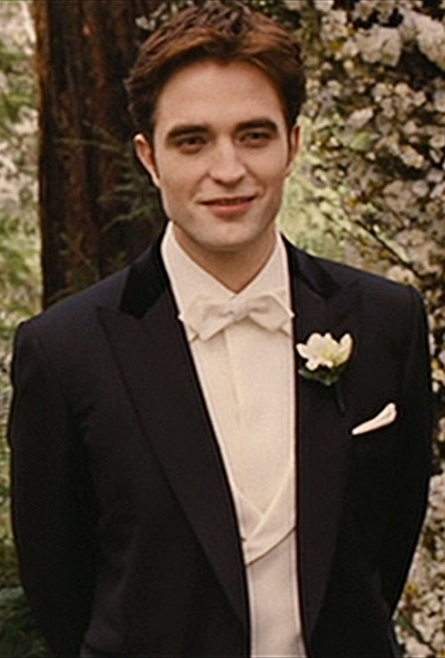 Edward Cullen (Robert Pattinson in Twilight movies) in a tux with a white rose
