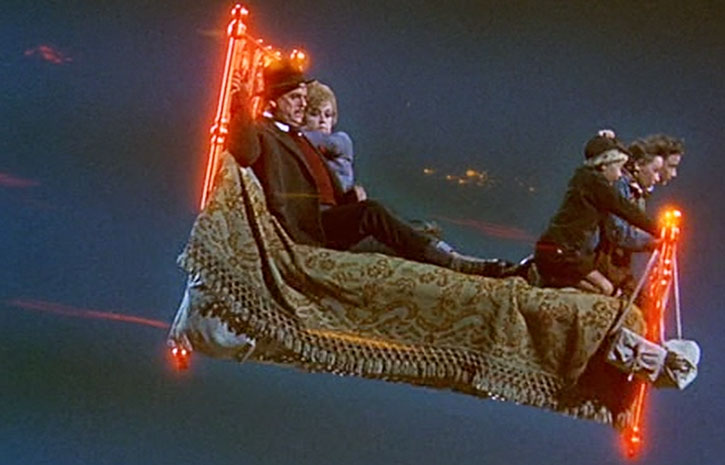 Eglantine Price (Angela Lansbury) and friends on a flying bed