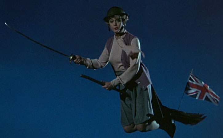 Eglantine Price (Angela Lansbury) on a patriotic flying broom