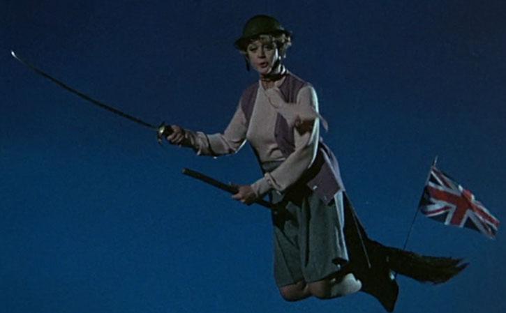 Eglantine Price (Angela Lansbury) on a patriotic flying broom