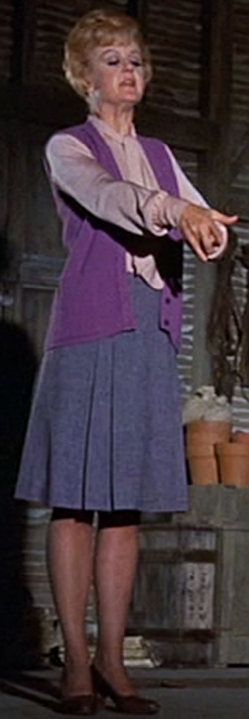 Eglantine Price (Angela Lansbury in Bedknobs and Broomsticks) violet loose vest and gray skirt