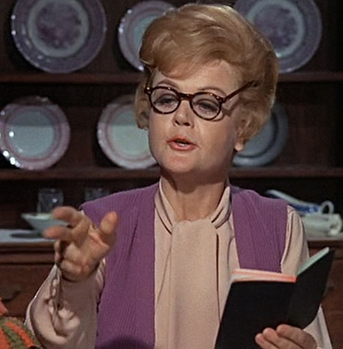 Eglantine Price (Angela Lansbury in Bedknobs and Broomsticks) with glasses and notes pad