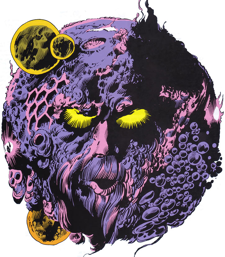 Ego the living planet (Marvel Comics) wide shot from the 1985 Handbook