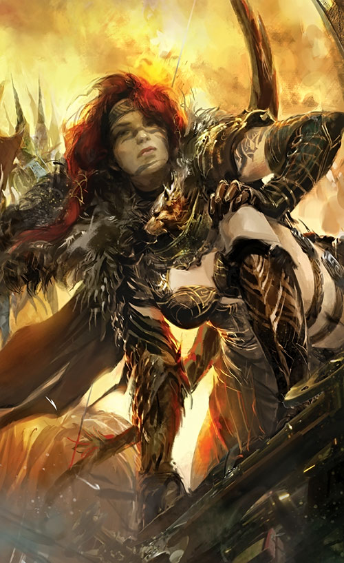 Eir Stegalkin (Guild Wars 2) with her bow on her back