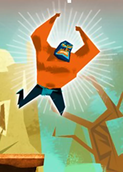 El Luchador (Guacamelee) glowing while he jumps