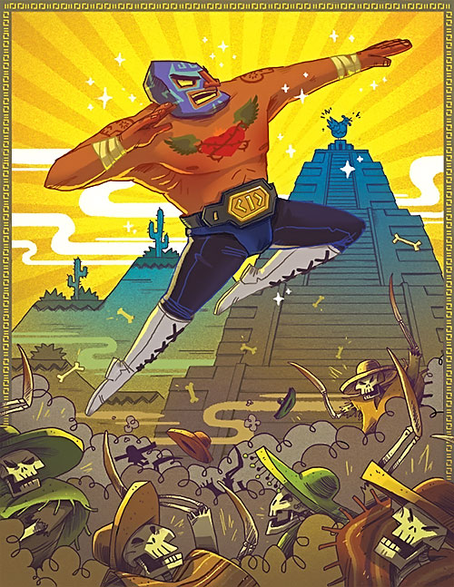 El Luchador (Guacamelee) poster with killer skeletons