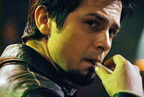 El Wray (Freddy Rodriguez in Planet terror) face closeup with cigarette