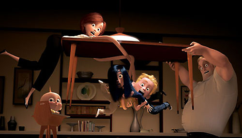 The Incredibles at home, with Mr.Incredible lifting a table