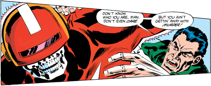 Electrocutioner II (Batman enemy) (DC Comics) head closeup