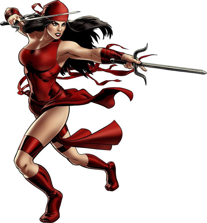 Elektra wielding paired sai