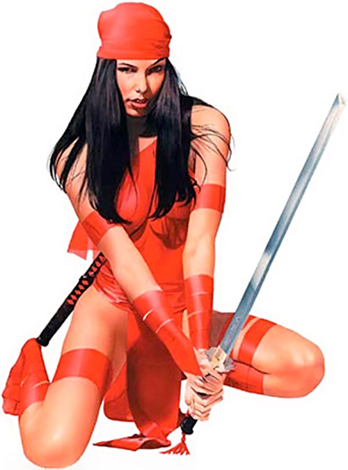 Elektra (Marvel Comics) crouching with a sword