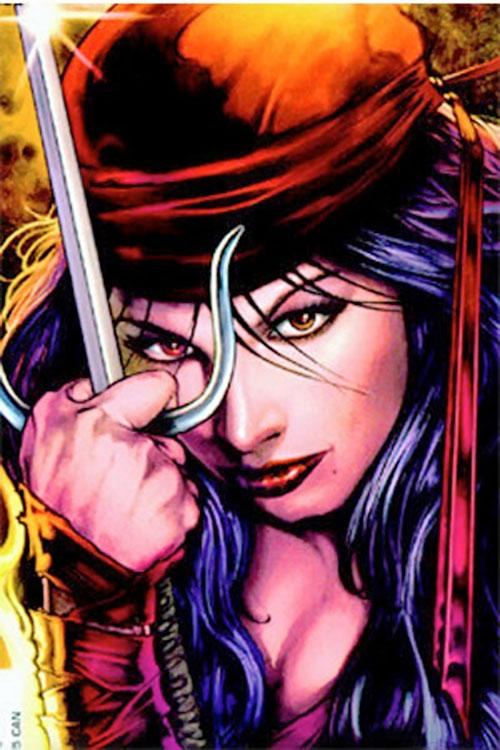 Elektra (Marvel Comics) face closeup, amber eyes