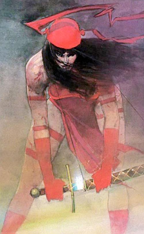 Elektra (Marvel Comics) by Sienkiewicz, drawing a sword