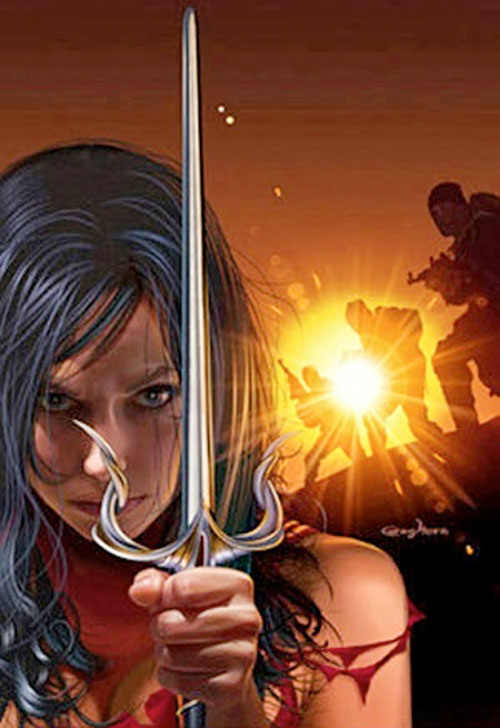 Elektra (Marvel Comics) with a sai with an elaborate guard