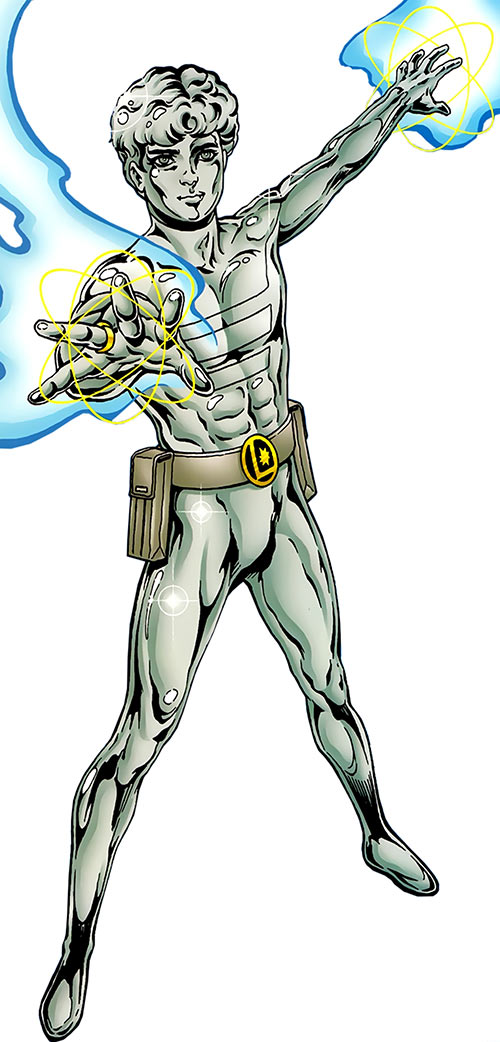 Element Lad in a metallic form, using his powers