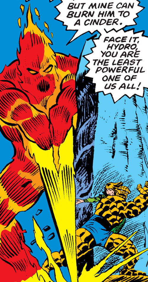 Elemental destroyer of fire (Marvel Comics) vs. the Thing and Alicia