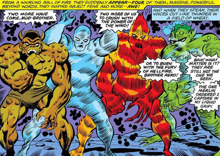 The four elemental destroyers (Marvel Comics) assembled