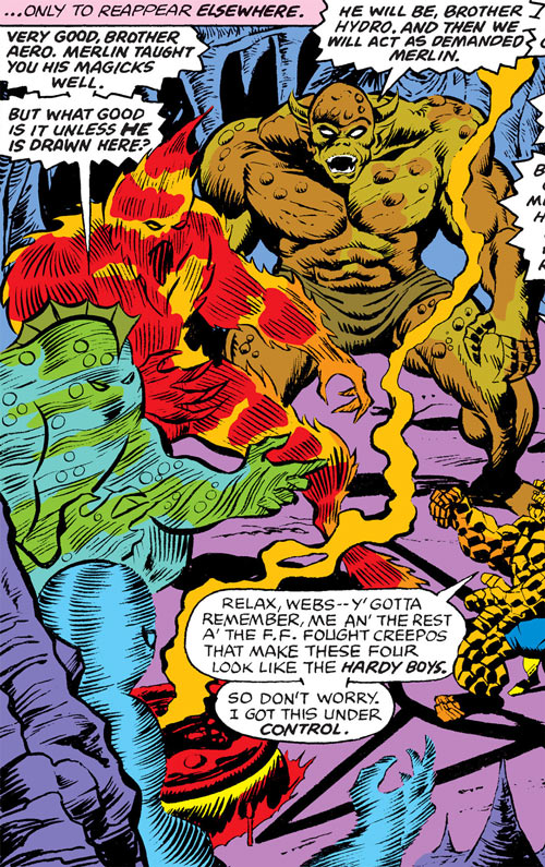 The four elemental destroyers (Marvel Comics) facing the Thing