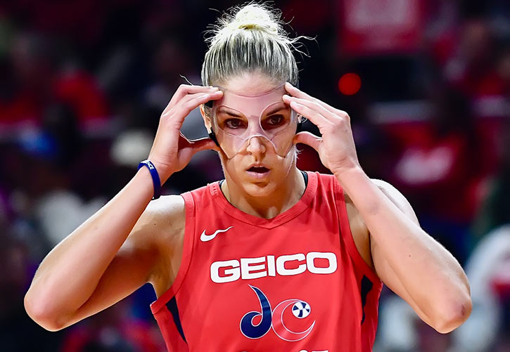 WNBA star Elena Belle Donne with a light mask face protector