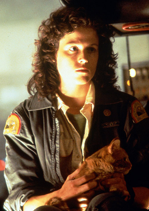 Ellen Ripley (Sigourney Weaver in Alien movies) with her cat