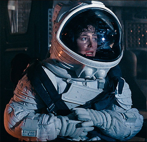 Ellen Ripley (Sigourney Weaver in Alien movies) in a space suit
