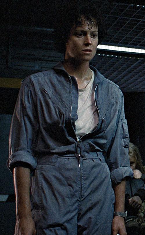 Ellen Ripley (Sigourney Weaver in Alien movies) in a blue jumpsuit